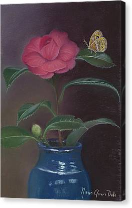 The Camellia And The Butterfly Canvas Print by Marie-Claire Dole