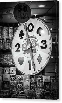 The Candy Wheel Point Pleasant Boardwalk Black And White Canvas Print by Terry DeLuco
