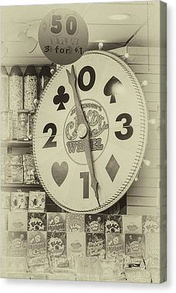 The Candy Wheel Point Pleasant Boardwalk Sepia Canvas Print by Terry DeLuco