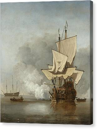 The Cannon Shot Canvas Print by Willem Van De Velde The Younger