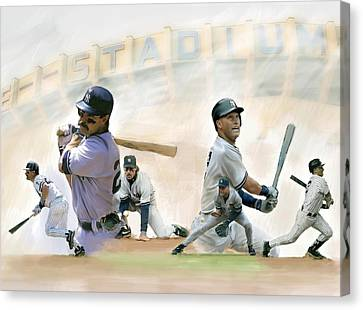 The Captains II Don Mattingly And Derek Jeter Canvas Print by Iconic Images Art Gallery David Pucciarelli