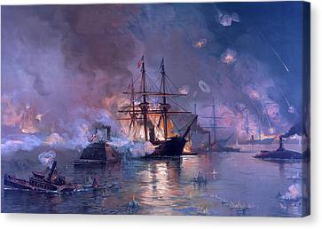The Capture Of New Orleans During The Civil War Canvas Print by American School