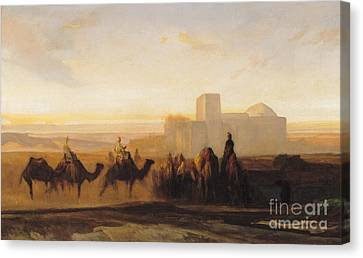 Setting Canvas Print - The Caravan by Alexandre Gabriel Decamps