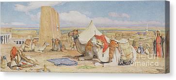 The Caravan, An Arab Encampment At Edfou Canvas Print by John Frederick Lewis