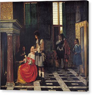 The Card Players Canvas Print by  Pieter de Hooch