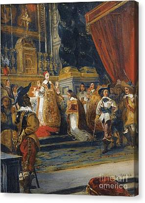 The Cardinal De Richelieu Saying Mass In The Church Of The Palais Royal Canvas Print by Celestial Images