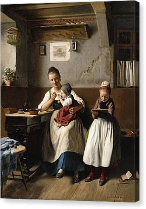 The Caring Mother Canvas Print by Franz Meyerheim