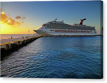 Canvas Print featuring the photograph The Carnival Freedom At Sunset - Cozumel - Mexico by Jason Politte