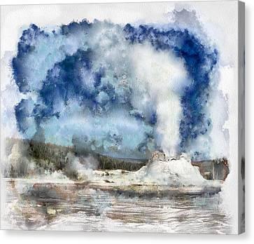 The Castke Geyser In Yellowstone Canvas Print