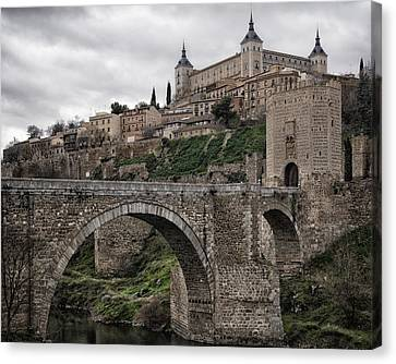 Stonework Canvas Print - The Castle And The Bridge by Joan Carroll