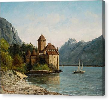 The Castle Of Chillon Evening Canvas Print