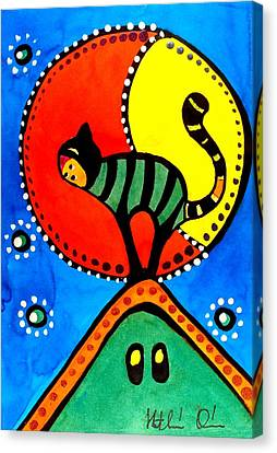 Canvas Print featuring the painting The Cat And The Moon - Cat Art By Dora Hathazi Mendes by Dora Hathazi Mendes
