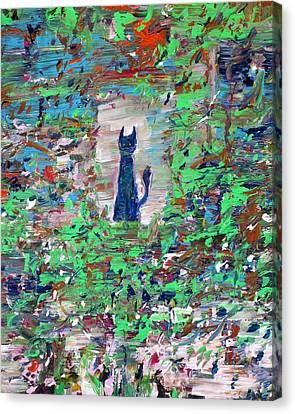 Canvas Print featuring the painting The Cat In The Garden by Fabrizio Cassetta
