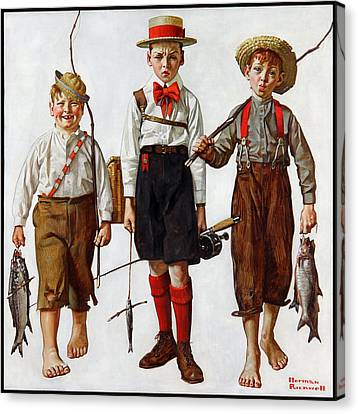 The Catch Canvas Print by Norman Rockwell