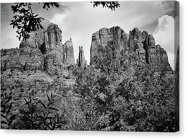 The Cathedral - Sedona Arizona - Red Rock Crossing - Black And White  Canvas Print