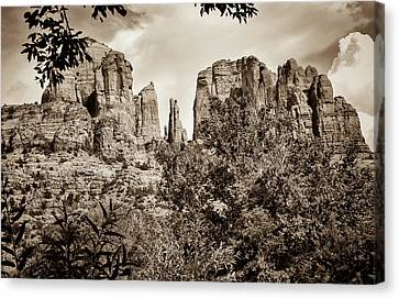 The Cathedral - Sedona Arizona - Red Rock Crossing - Sepia Canvas Print