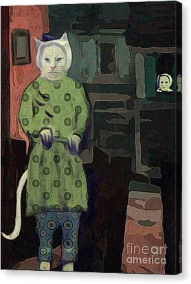 Canvas Print featuring the digital art The Cat's Pajamas by Alexis Rotella