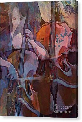 Canvas Print featuring the digital art The Cellist by Alexis Rotella