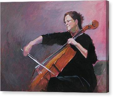 The Cellist Canvas Print by Robert Bissett