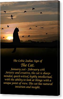 The Celtic Zodiac Sign Of The Cat Canvas Print by Stephanie Laird