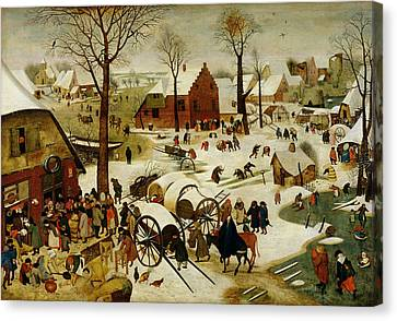 The Census At Bethlehem Canvas Print by Pieter the Younger Brueghel