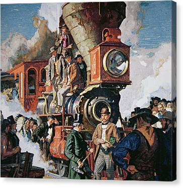 The Ceremony Of The Golden Spike On 10th May Canvas Print by Dean Cornwall