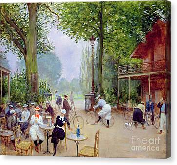 The Chalet Du Cycle In The Bois De Boulogne Canvas Print by Jean Beraud