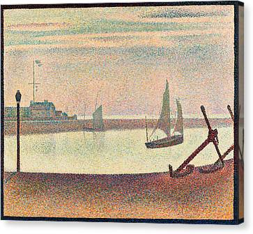 The Channel At Gravelines, Evening Canvas Print by Georges Seurat