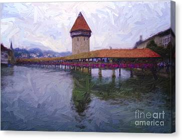 The Chapel Bridge Canvas Print by Nitiphol Purnariksha