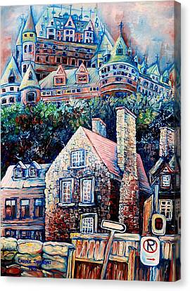 Montreal Winter Scenes Canvas Print - The Chateau Frontenac by Carole Spandau