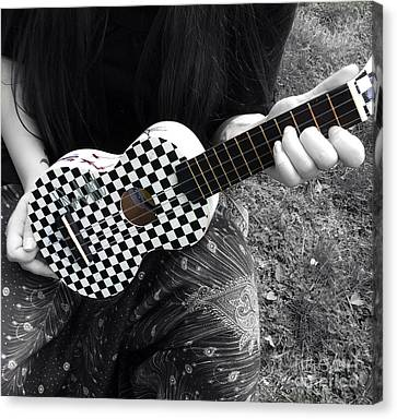 The Checkered Uke Canvas Print by Steven Digman