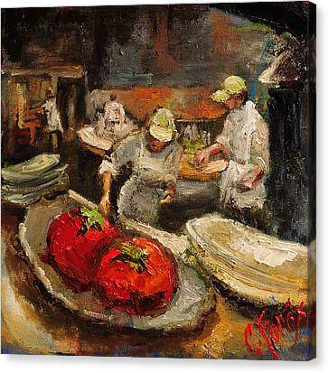 The Chefs Table At Hot And Hot Canvas Print by Carole Foret