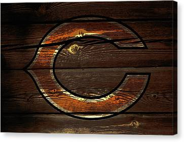 Wooden Bowl Canvas Print - The Chicago Bears 3b by Brian Reaves