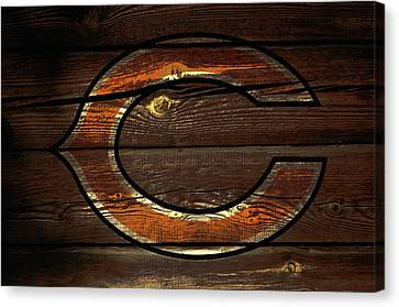 Wooden Bowl Canvas Print - The Chicago Bears 3c by Brian Reaves