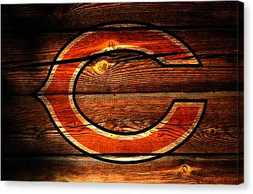 Wooden Bowl Canvas Print - The Chicago Bears 3f by Brian Reaves