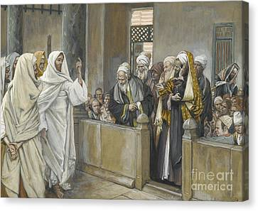 The Chief Priests Ask Jesus By What Right Does He Act In This Way Canvas Print by James Jacques Joseph Tissot