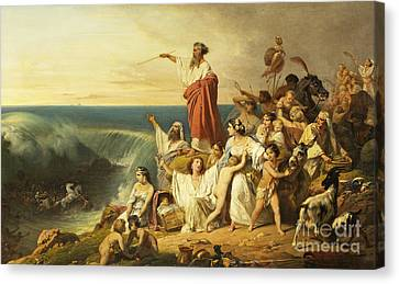 The Children Of Israel Crossing The Red Sea Canvas Print by Henri-Frederic Schopin