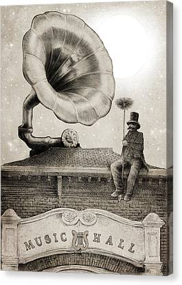 The Chimney Sweep Monochrome Canvas Print