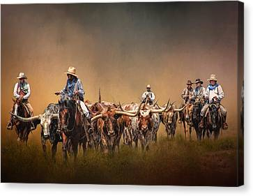 Longhorn Canvas Print - The Chisolm Trail by David and Carol Kelly