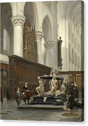 The Choir Of The Church Of Our Lady In Breda With The Tomb Of Engelbert II Of Nassau Canvas Print