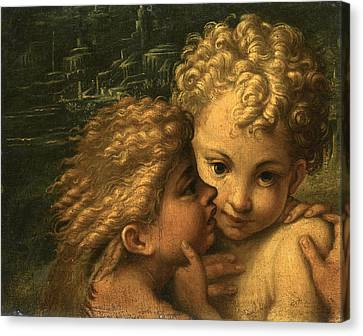 The Christ Child And The Infant Saint John The Baptist Canvas Print by Follower of Parmigianino