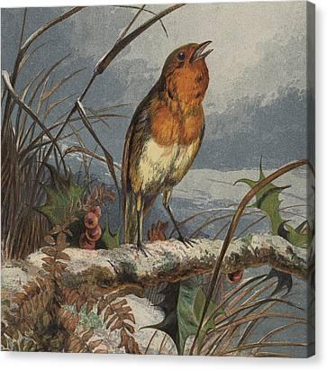 The Christmas Carol Singer Canvas Print by Harrison William Weir