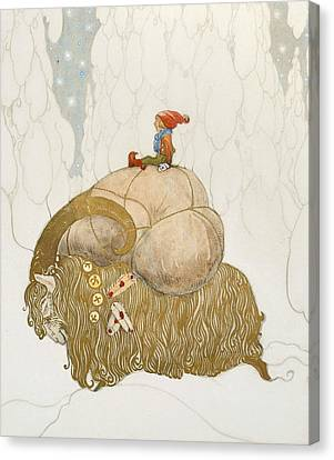 The Christmas Goat  Canvas Print by John Bauer