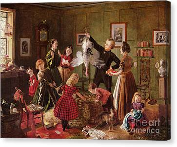 Turkey Canvas Print - The Christmas Hamper by Robert Braithwaite Martineau