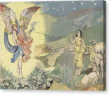 Nativity Canvas Print - The Christmas Rose by John Shenton Eland