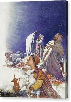 The Christmas Story The Shepherds' Tale Canvas Print by John Millar Watt