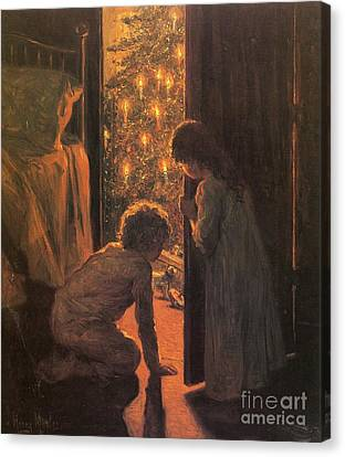 Candle Lit Canvas Print - The Christmas Tree by Henry Mosler