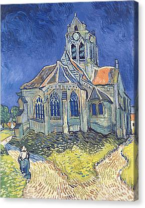 1890 Canvas Print - The Church At Auvers Sur Oise by Vincent Van Gogh