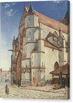 The Church At Moret In Morning Sun Canvas Print by Celestial Images