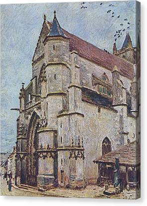 The Church At Moret In Winter Canvas Print by MotionAge Designs